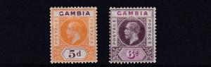 GAMBIA  1912 - 22  SG  92 + 94     5D  + 6D  VALUES    MH