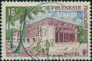 French Polynesia 1958 Sc#195,SG10 16f Post Office Papeete FU