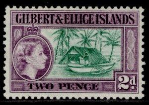 GILBERT AND ELLICE ISLANDS QEII SG66a, 2d bluish green & purple, M MINT.