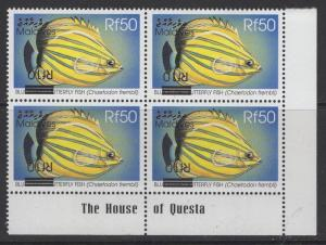 MALDIVE ISLANDS SG3460bb 2001 10r on 50r SURCHARGE INVERTED BLOCK OF 4 MNH