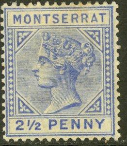 MONTSERRAT 1884-85 QV 2 1/2d Ultramarine Portrait Issue Sc 8 MH