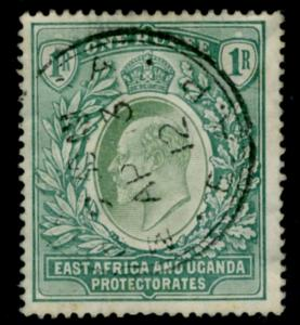 EAST AFRICA & UGANDA-1907 1r Green Sg 26 GOOD USED V15524