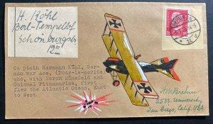 1933 Berlin Germany Brehm Hand Drawn Cachet Cover To Usa Hermann Koln Airplane