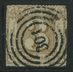 Thurn & Taxis 1865 3 sgr bister brown rouletted used with 301 numeral