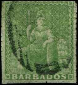 Barbados SC# 10 SG# 13 Britannia (1/2d) pin perf 14 Used
