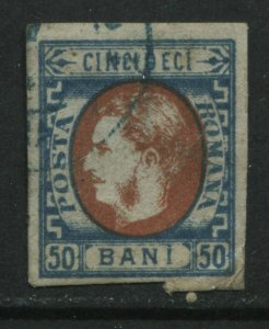 Romania 1869 50 bani used