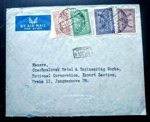 VERY RARE SAUDI ARABIA 1963 HIGH VALUE AIRMAIL COVER TO CZECHSALVAKOA RECEIVING