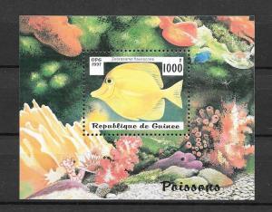 GUINEA MNH SOUV. SHEET SC#1409 SALTWATER FISH SCV$3.50 **