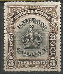 LABUAN, 1902, MH 3c, Crown  Scott 100A