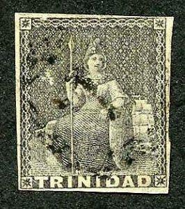 Trinidad SG10 (1d) Dark Grey on white paper Cat 90 pounds