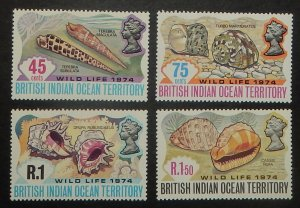 British Indian Ocean Territory 59-62. 1974 Sea Shells