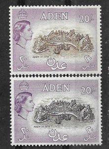 Aden # 61-61A   Fort  - 20sh. color varieties  (2)  Mint NH/Unused LH