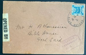 1918 Army Post Office Palestine Censored Cover To Bible House Port Said Egypt