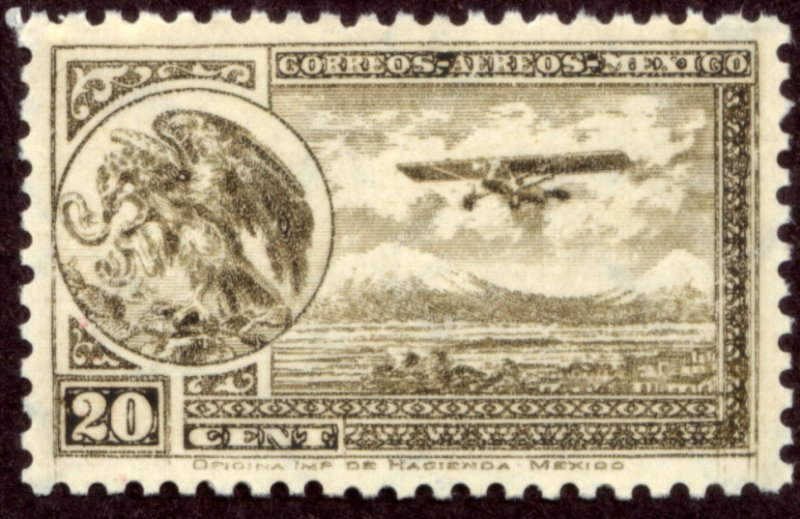 MEXICO C62, 20¢ ARMS & PLANE RE-ISSUE. MINT, NH. F-VF.