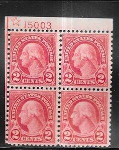 US#579 2c Washington P# block of 4,star perf 11x10 (MNH) CV $900.00