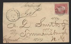 *$US Sc#65 Farmer Village NY DPO 4 cover Aug 3, 1864