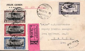 Egypt 1927 Nr. 118-120 + 27m Air Mail Registered Airmail Cover to Basra, Iraq