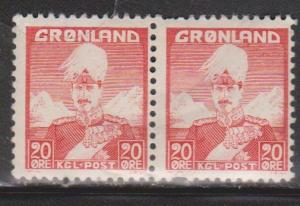 GREENLAND Scott # 20 Pair MH - King Christian X - Pulled Perf