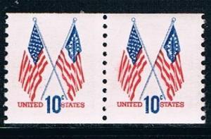USA 1519: 10c Crossed Flags, pair, MNH, F-VF