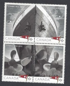 Canada #2534a MNH block of 4, ship, Titanic, issued 2012