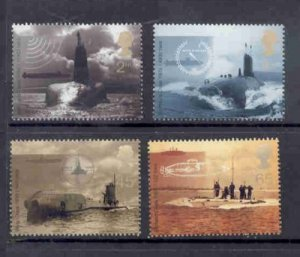 Great Britain Sc 1967-70  2001 Submarines  stamp set mint NH