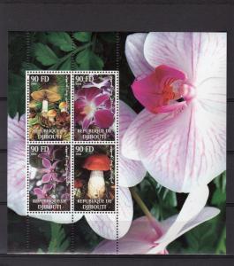 Djibouti 2004 Mushrooms/Orchids Stamp Souvenir Sheet MNH