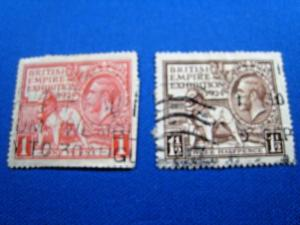GREAT BRITAIN  -  SCOTT # 185 & 186  -   Used      (brig)