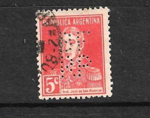 ARGENTINA PERFIN ON 1923 5c SAN MARTIN
