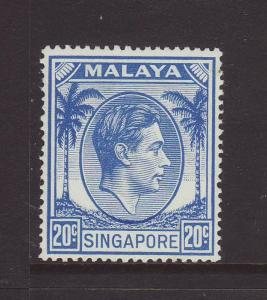 1952 Singapore 20c Perf 17½ x 18 Mounted Mint SG24a
