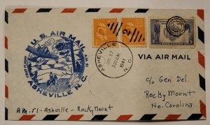 C.1941 Asheville NC First Flight Cover Fancy Cancel Naval  Multi Stamp unsealed