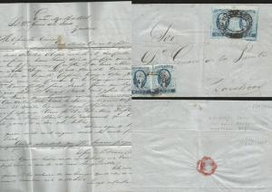 J) 1861 MEXICO, ZACATECAS ENCARNACION, IMPERFORATED PAIR, HIDALGO'S HEAD 2 REALE