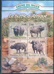 Niger MNH S/S African Buffaloes 2013 4 Stamps