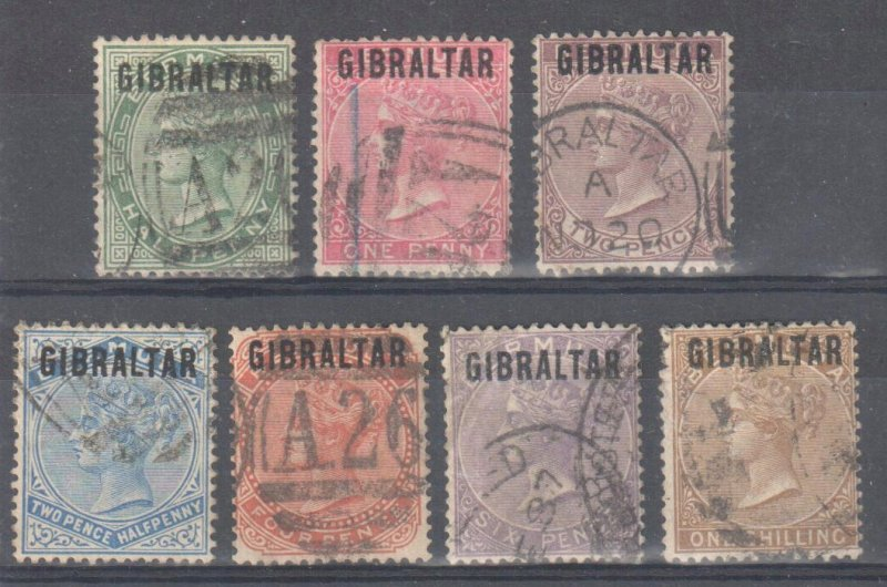 Gibraltar #1 to 7, USED CDS -- 1886 VICTORIA