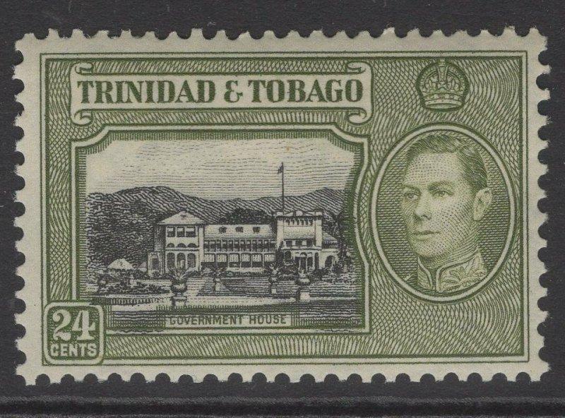 TRINIDAD & TOBAGO SG253 1938 24c BLACK & OLIVE-GREEN MTD MINT