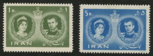 Iran Scott 1164-65 Shah and Queen Farah Diba Marriage- Unused VFLHOG- SCV $15.00