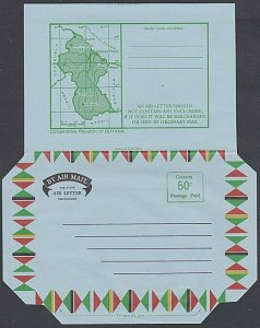 GUYANA 50c provisional map aerogramme unused ...............................J963