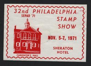 UNITED STATES  SEPAD 1971 PHILATELIC SHOW LABEL CINDERELLA - BARNEYS
