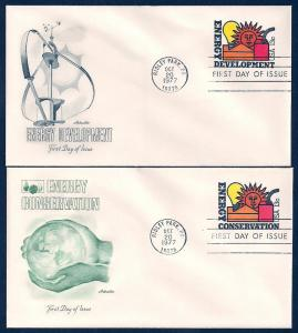 UNITED STATES FDCs (2) 13¢ Conservation 1977 Artmaster