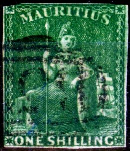 Mauritius 1861 1s Yellow-Green SG35 Ave Used Fresh Colour