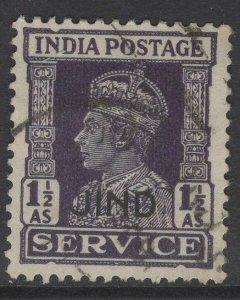 INDIA-JIND SGO78 1942 1½a DULL VIOLET USED