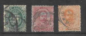 Italy Scott 67-69 Used short set King Humbert I 2018 CV $6.75