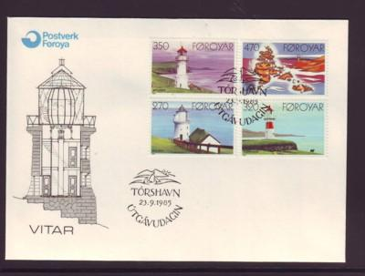 Faroe Islands Sc130-3 1985 Lighthouse stamps FDC