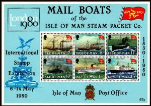 Isle of Man #173a MNH S/S CV$2.00 London IPEX Mail Steam Packet Boats Ships