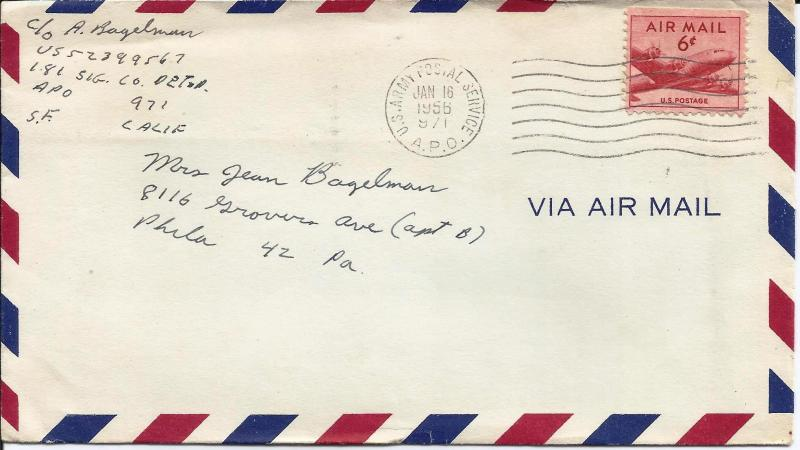 US Arny mail 1956 APO Scott# C39