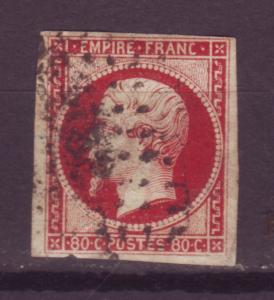 J16226 JLstamps 1853-60 france used imperf napolean #19 lake yellowish