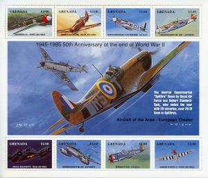 Grenada 1995 MNH WWII WW2 VE Day End World War II 8v M/S Aviation Stamps