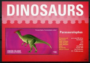 Union Island Gren St Vincent Dinosaurs Stamps 2014 MNH Parasaurolophus S/S I