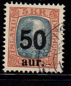 Iceland Sc 138 1925 50 aur on 5k Christian IX stamp used