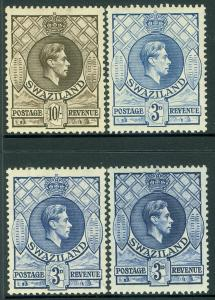 SWAZILAND : 1938-47. Stanley Gibbons #32b, c, d. Also #38. VF, MOGH. Cat £125.