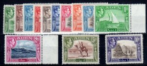 Aden 1939-48 SC 16a-27a, set of cheapest shades, hinged, some short perfs